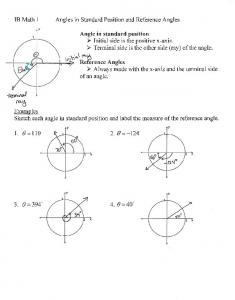 01-28 Notes Angles in Standard Position and Reference Angles