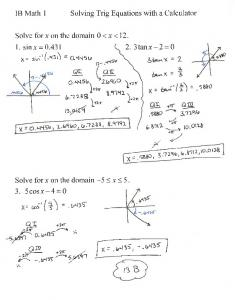 03-18 Notes Solving Trig Equations with a Calculator