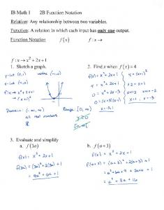 09-22 Notes 2B Function Notation 2C Domain and Range