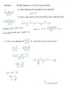 09-25 Notes 2F Sign Diagrams for Rationals and 2G Solving Inequalities