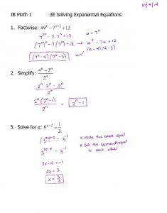 10-09 Notes 3E Solving Exponential Equations