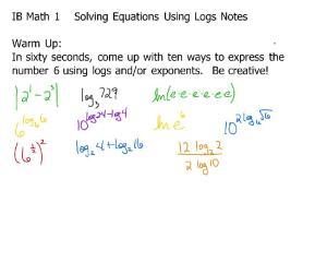10-24 Notes 4E Solving Equations Using Logs