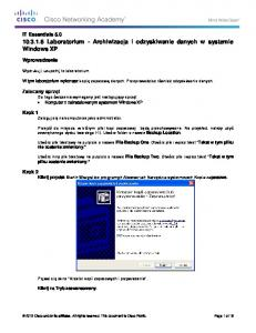 10.3.1.6 Lab - Data Backup and Recovery in Windows XP