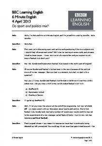 130404 - 6 min English - Sport And Politics