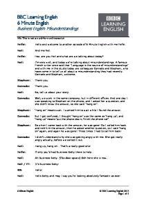 140116 - 6 min English - Business English Misunderstandings