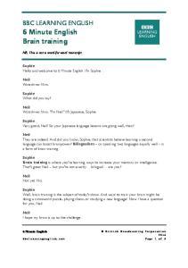 160407 - 6 min English - brain training