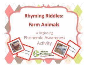 19-Rhyming Riddles Farm Animals A Beginning Phonemic Awarenes s Game by Trillium Montessor