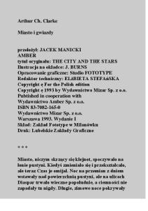 Arthur C.Clarke - Miasto i gwiazdy