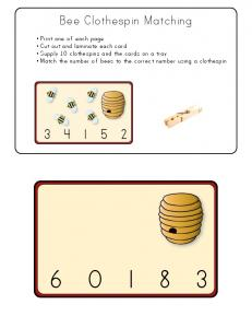 Bee Clothespin Matching Game