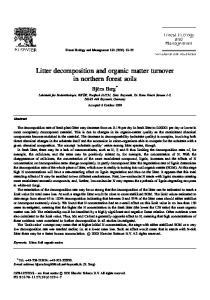 Berg B (20... organic matter turnover in
