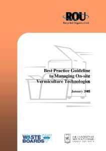 Best Practice Guideline vermiculture