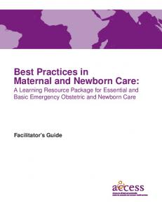 Best Practices in Maternal and Newborn Care