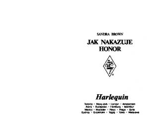 Brown Sandra - Jak nakazuje honor