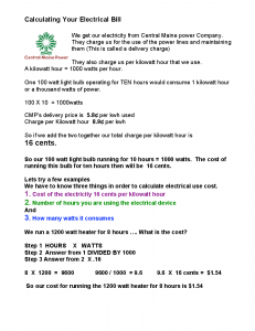 Calculating your Electrical Bill