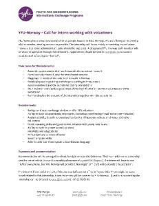 Call for intern - NORWAY - volunteers-work