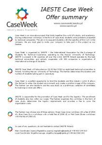 Case Week 2013 - offer summary