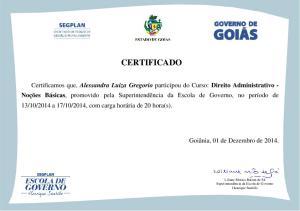 Certificado - Direito Administrativo - Alessandra