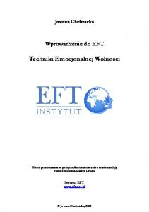 Chelmicka Joanna - Wprowadzenie do EFT Techniki Emocjonalnej Wolnosci