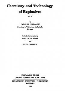 Chemistry and Technology of Explosives - vol 1 - Urbanski