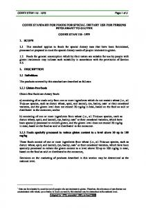 CODEX STANDARD FOR FOODS FOR SPECIAL DIETARY USE FOR PERSONS