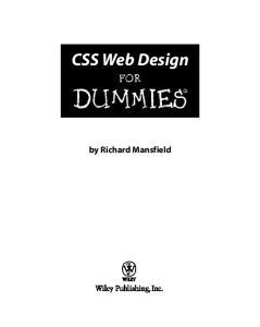CSS Web Design for Dummies (ISBN - 0764584251)