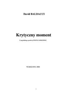 David Baldacci -- Krytyczny moment