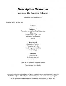 Descriptive Grammar Ultimate Reference Document Year One