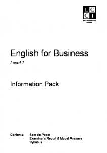 English for Business 1 LCCI