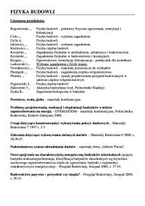 Fizyka Budowli - literatura