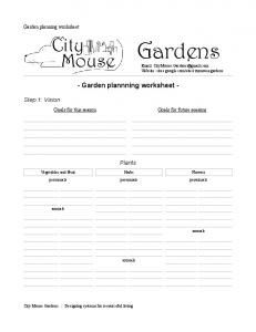 Garden Planning Worksheet