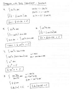 Integrals with Trig Identities Day 1 Answers