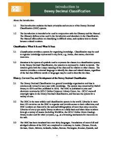 Introduction to Dewey Decimal Classification