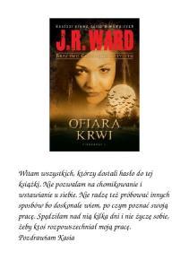 J R Ward 02 Bractwo Czarnego Sztyletu Ofiara Krwi