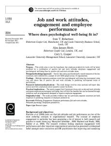 Job and work attitudes,