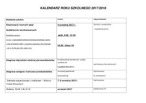 kalendzarz roku szkolnego 2017-2018