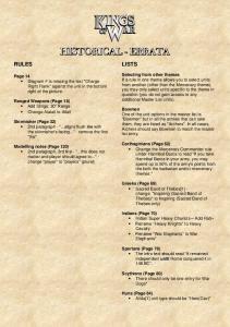 Kings of War Historical Errata 1.0