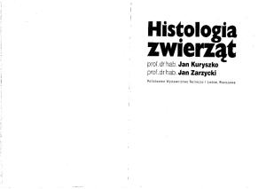 Kuryszko J, Zarzycki J - Histologia zwierząt