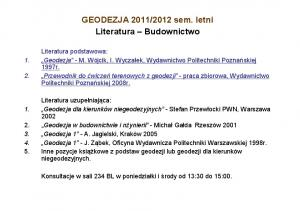 Literatura i warunki zaliczenia 2012 (B)