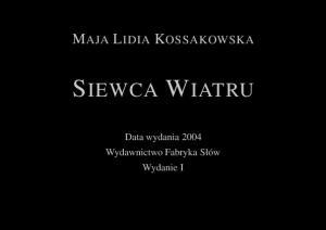 Maja Lidia Kossakowska Siewca Wiatru (osloskop net)