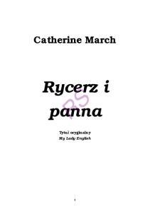 March Catherine Rycerz i panna