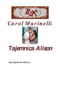 Marinelli Carol - Harlequin Medical - Tajemnica Alison