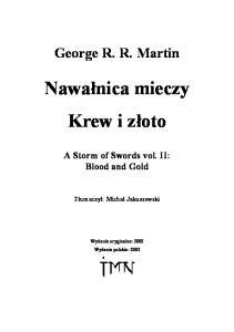 Martin R R George 2 Nawalnica mieczy Tom 2