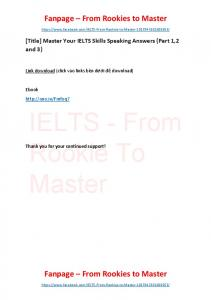 Master Your IELTS Skills Speaking Answers (Part 1,2 and 3)