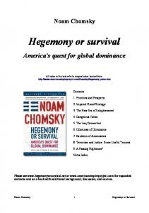 Noam Chomsky Hegemony or Survival Americas Quest for Global Dominance
