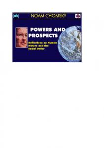 Noam Chomsky Powers and Prospects