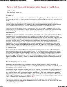 Patient Self-Care and Nonprescription Drugs in Health Care