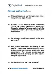 PDF - Advanced - Job Interview I