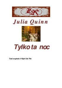 Quinn Julia - Tylko ta noc