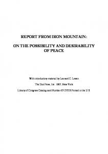 Report from Iron Mountain Congress Library