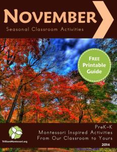 Seasonal Classroom Guide November